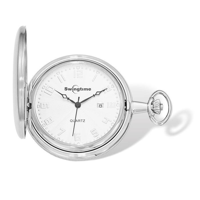 Swingtime Engravable Chrome Brass Swiss Quartz Mens Pocket Watch