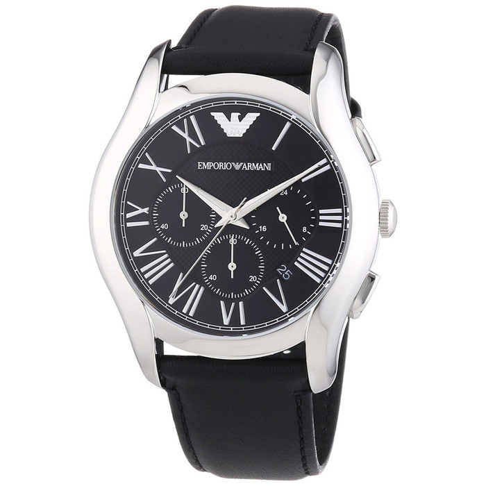 Emporio Armani AR1700 Classic Chronograph Black Leather Mens Watch
