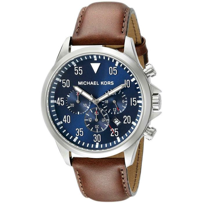 Michael Kors MK8362 Gage Black Chronograph Dial Brown Leather Mens Watch