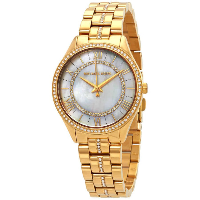 Michael Kors MK3899 Lauryn Crystal Gold-tone Mother of  Pearl Womens Watch