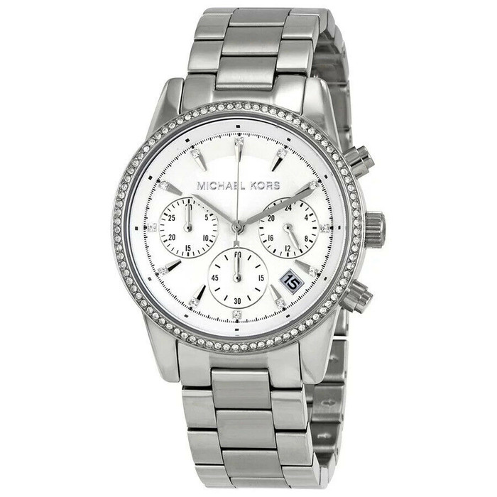 Michael Kors MK6428 Ritz Crystal Stainless Steel Chronograph Womens Watch