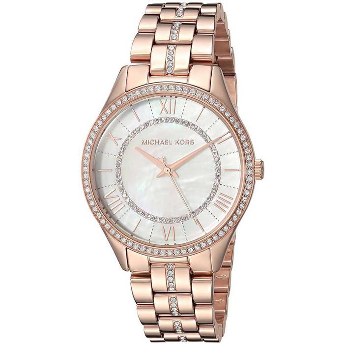 Michael Kors MK3716 Lauryn Crystal Mother of  Pearl Rosegold Womens Watch