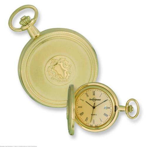 b7df91cd1 Swingtime Engravable Gold-tone Brass Swiss Quartz Date Mens Pocket Watch -  The Royal Gift Inc.