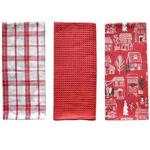 Winter Plaid Kitchen Towels - Set of 3