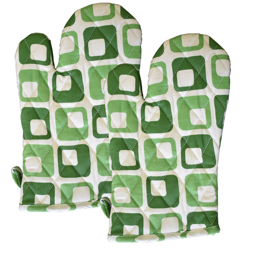 Green Squares Cotton Oven Mittens - Set of 2