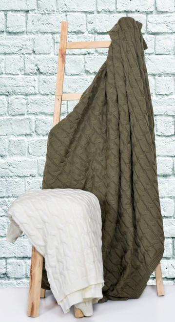 Cable Knit Taupe Throw