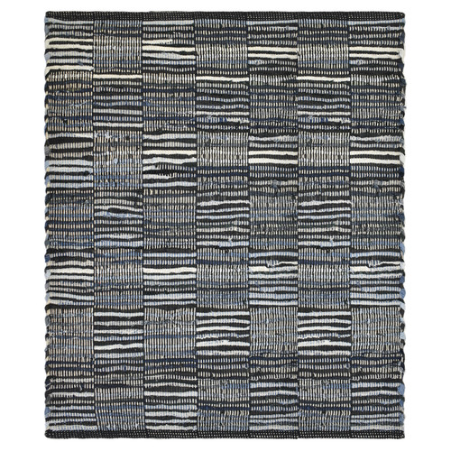 Checkered Denim & Leather Rug