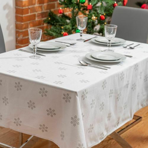 Snow Fall Cotton Tablecloth