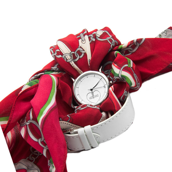 Moschino Quartz Fashion Victim Red Scarf Strap Ladies Watch MW0199