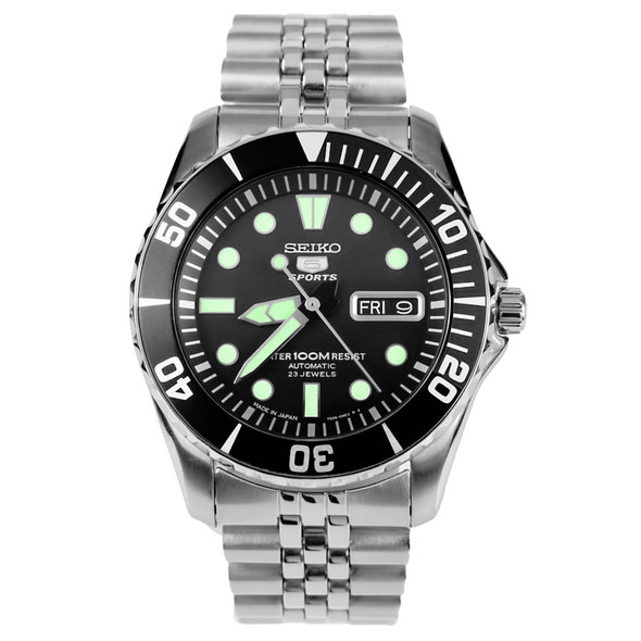 Seiko 5 Automatic Diving Day and Date Mens Sports Watch SNZF17J1 Jubilee