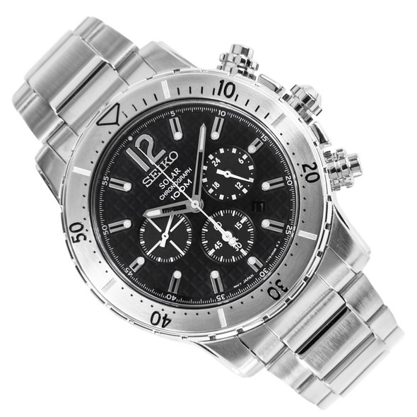 Seiko Solar Chronograph Black Dial Mens Sports Watch SSC223P1