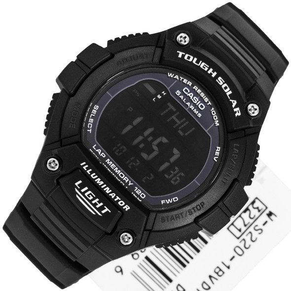 Casio Youth Black Illuminator Tough Solar Mens Watch W-S220-1BV WS220