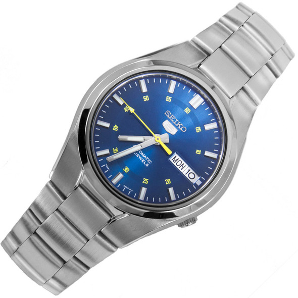 Seiko 5 Automatic WR30m Blue Dial Mens Round Sports Watch SNK615K1