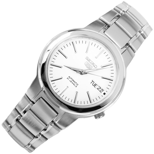 Seiko 5 Casual Stainless White Dial Mens Automatic Watch SNKA01K1