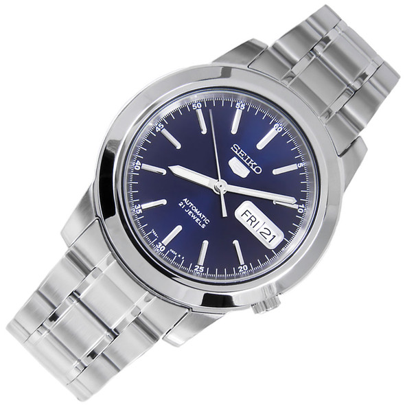 Seiko 5 Blue Dial 21 Jewels Automatic WR30m Mens Casual Watch SNKE51K1