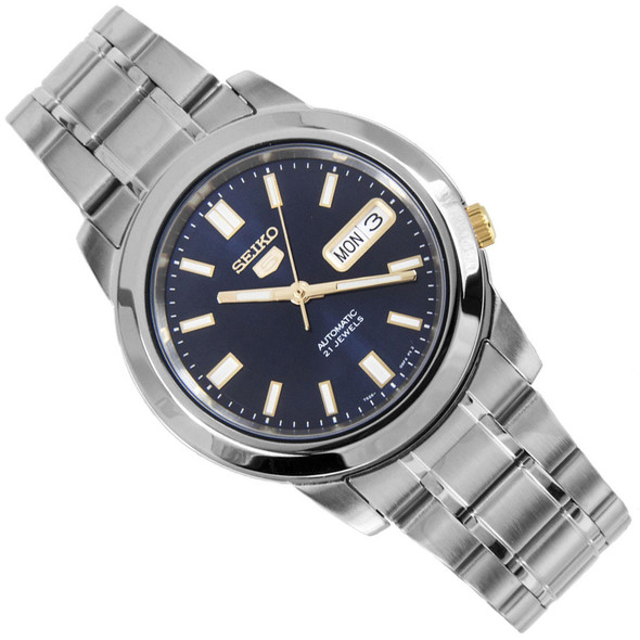 Seiko 5 Blue Gold Analog Mens Automatic Casual Watch SNKK11K1