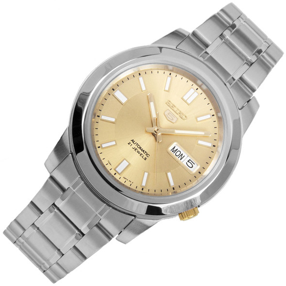 Seiko 5 Gold White Analog 21 Jewels Mens Automatic Watch SNKK13K1
