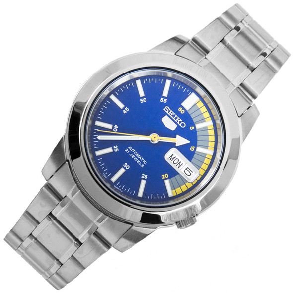 Seiko 5 Blue 21 Jewels Speed Dial Mens Stainless Watch SNKK27K1