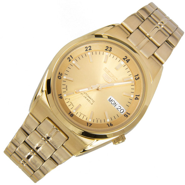 Seiko 5 Gold Dial Automatic Stainless Mens Analog Watch SNK574J1