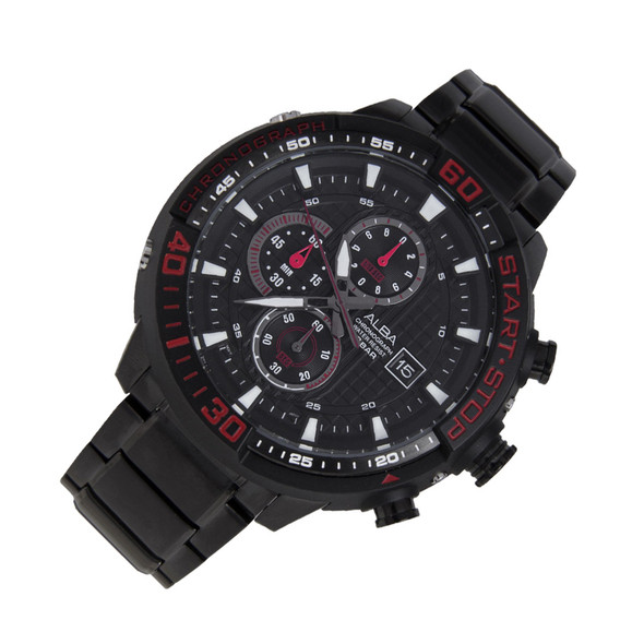Alba SignA Quartz Chronograph Mens Black Sports Watch AM3099X1 AM3099X