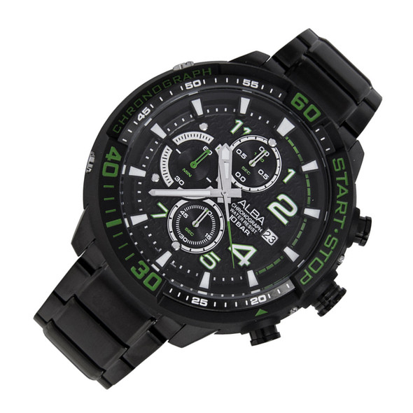 Alba SignA Quartz Chronograph Mens Black Green Watch AM3101X1 AM3101X