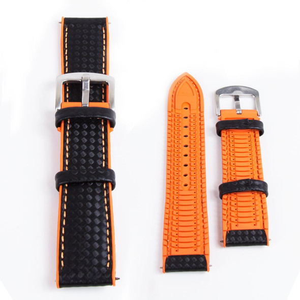 Hybrid Leather/Rubber Orange/Black Watch Strap