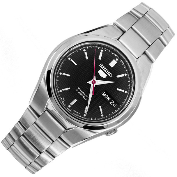 Seiko 5 Automatic Black Dial WR30m Mens Round Sports Watch SNK607K1