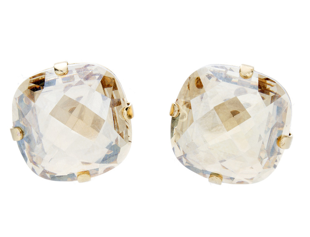 Earring - 16mm Rounded Square Studs Regular - Goldtone