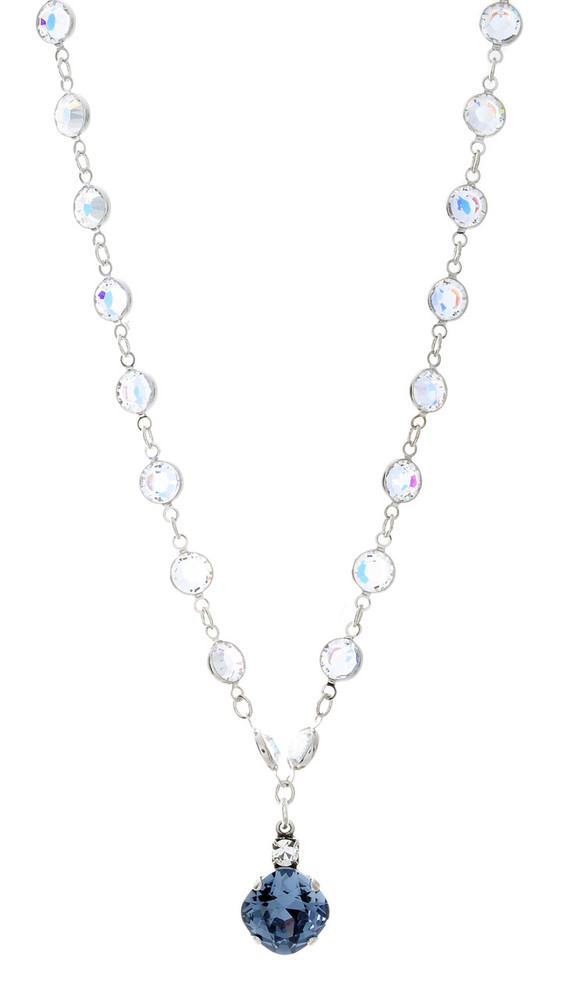 Necklace - 12MM Fancy Chain Single Drop - Silver Tone
