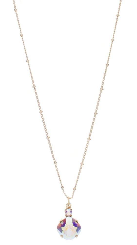 Necklace - Single Drop 12mm Square Ultra Colors - Goldtone