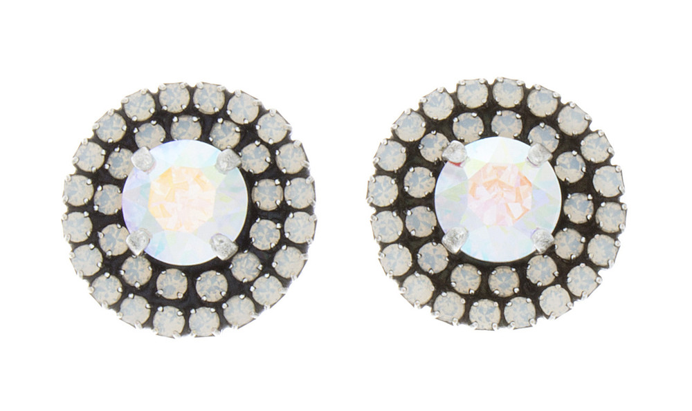 Earring 8mm Double Crystal Wrap Studs Silver