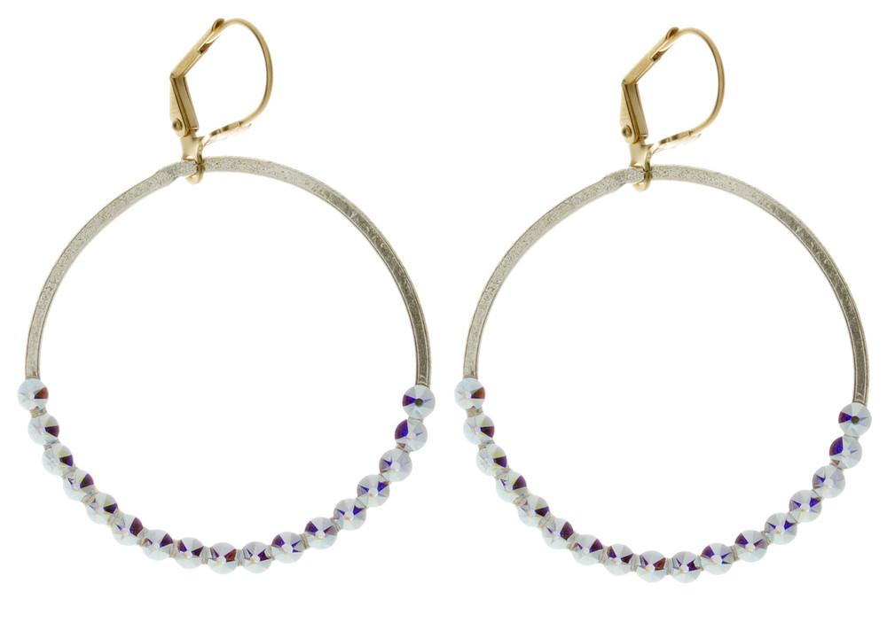Hoop with Set Crystals - Earrings Goldtone