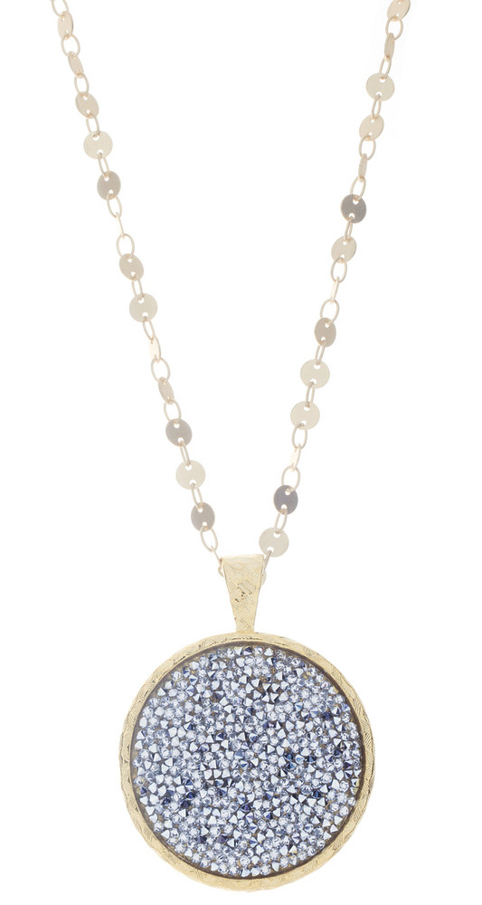 Crystal Circle Rock - Gold Chain - Silver