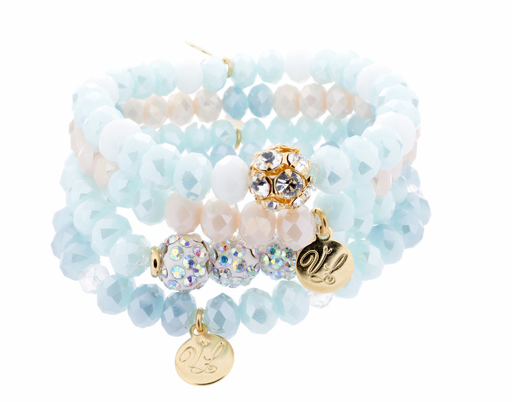Stretch Bracelets - Set of 4 - Blues
