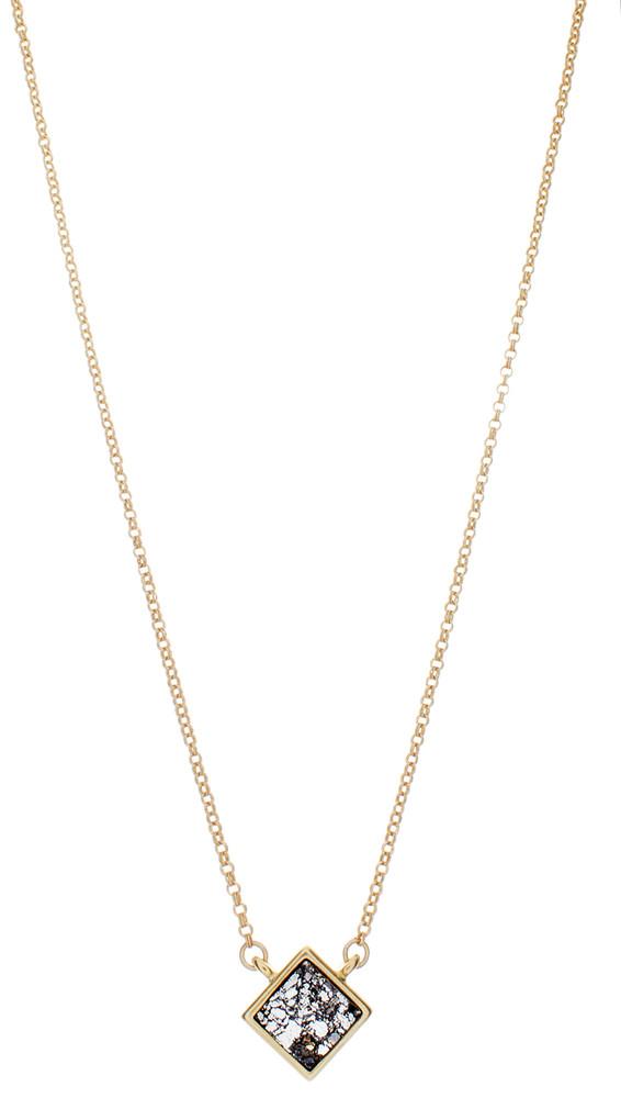Tiny Crystal Treasure Necklace - Black Patina