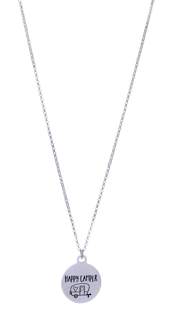 Happy Camper Necklace - Silver