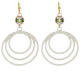 10mm Triple Ring Earrings Gold