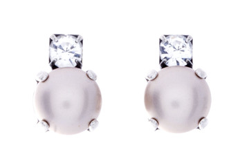 Earrings 8mm Crystal Top Pearl Studs