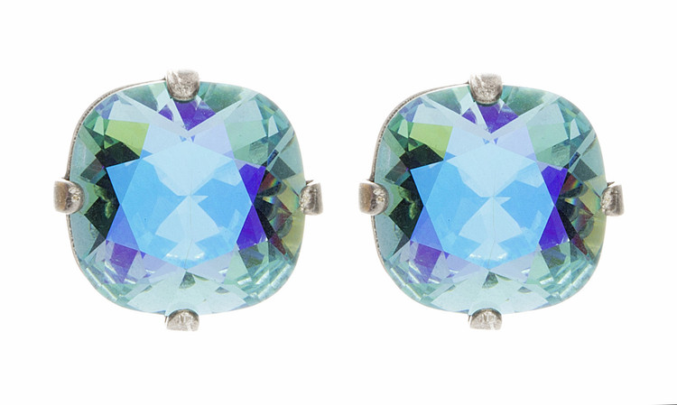 Earring - 12mm Square Ultra Colors Studs - Silvertone