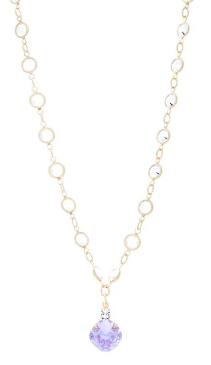 Necklace - 12mm Fancy Chain Single Drop - Goldtone