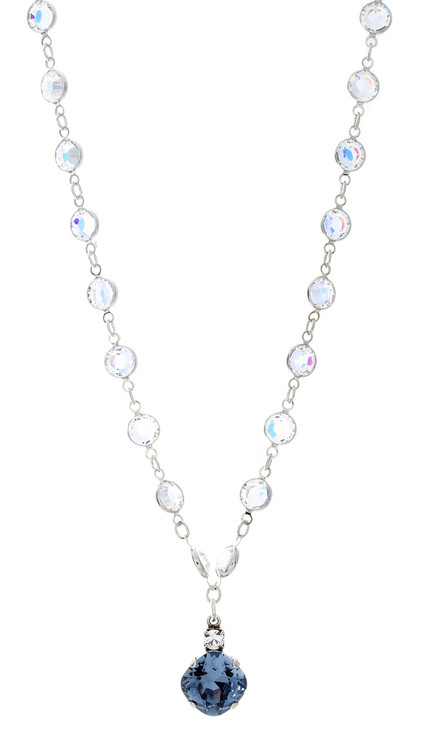 Necklace - 12MM Fancy Chain Single Drop - Silver Tone