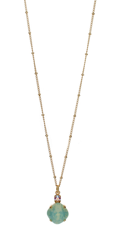 Necklace - Single Drop 12mm Square  - Gold Tone