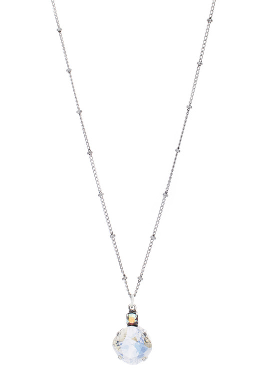 Necklace - Single Drop 12mm Square  - Silver Tone