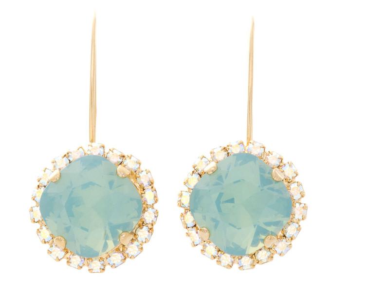 earring 12mm Long Wire Crystal Wrap Dangle Goldtone
