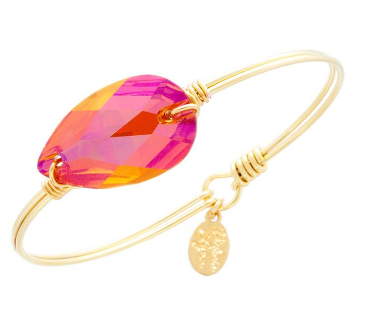 Under the Sea Wire Wrap - Astral Pink Tear Drop Bracelet