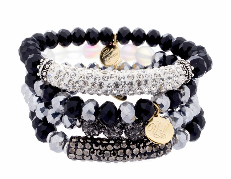 Stretch Bracelets - Set of 4- Blacks