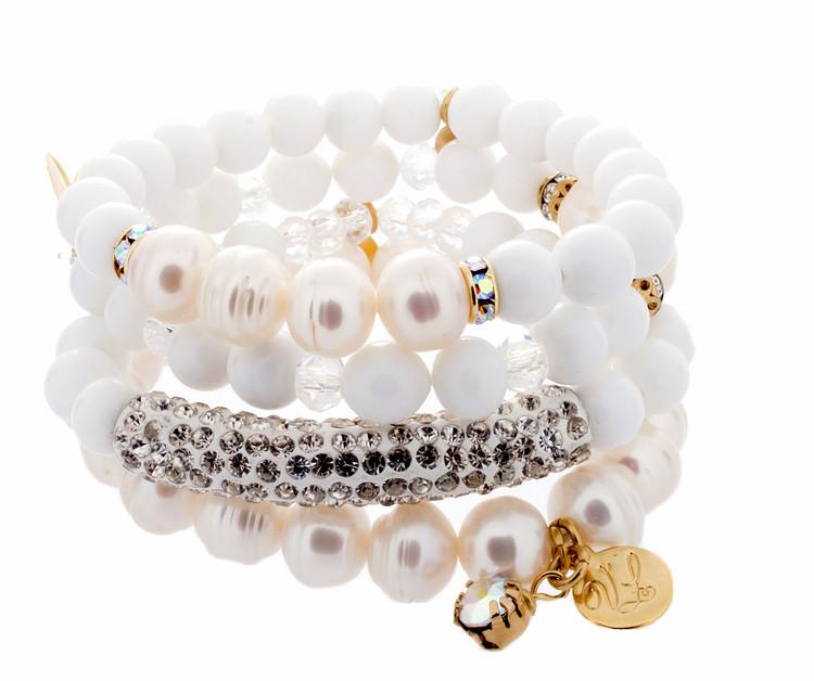Stretch Bracelets - Set of 4 - Whites