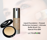Liquid Foundation + Pressed Perfection Compact + Ultimate Buffer Brush Set