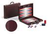Set joc Table/Backgammon de lux bordeaux din piele ecologica cu dimensiuni 36x54,5 cm