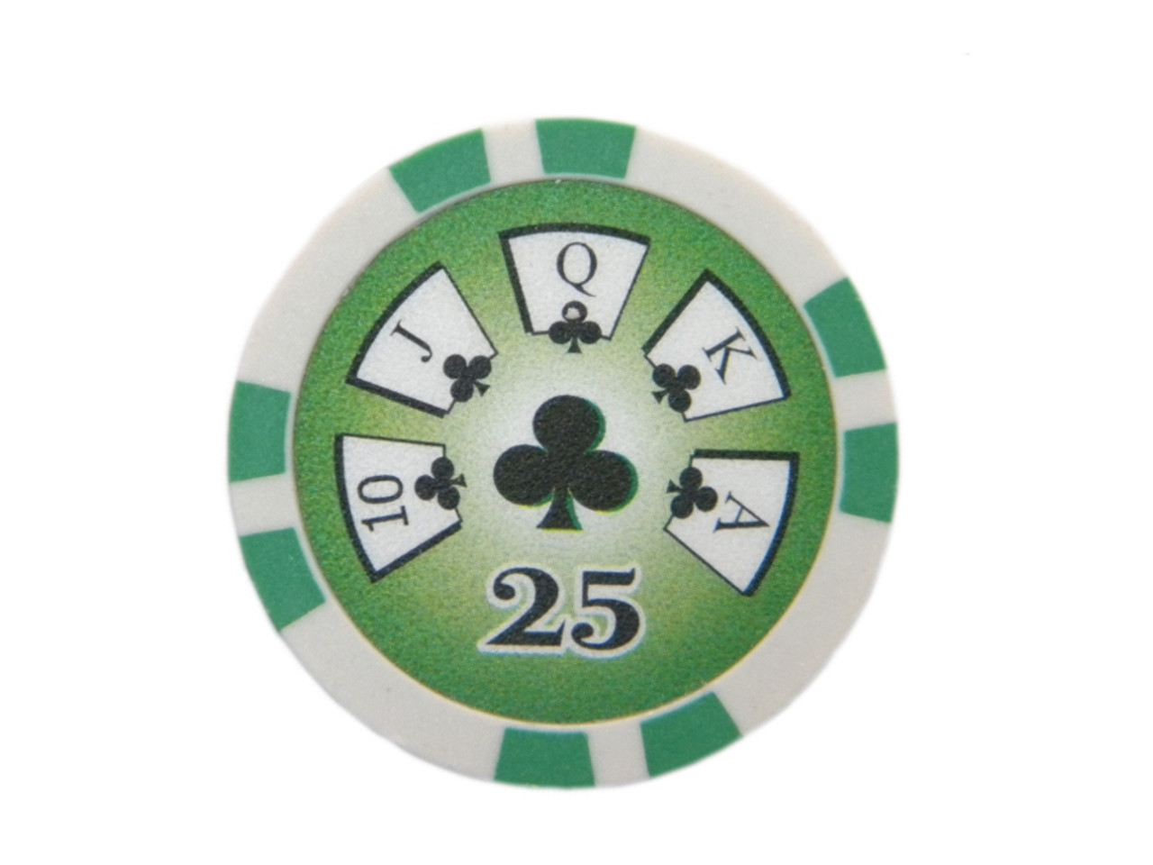 Fisic 25 jetoane Royal Flush - Verzi - Valoare printata : 25